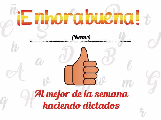 Diploma por hacer un buen dictado - for making a great dictation