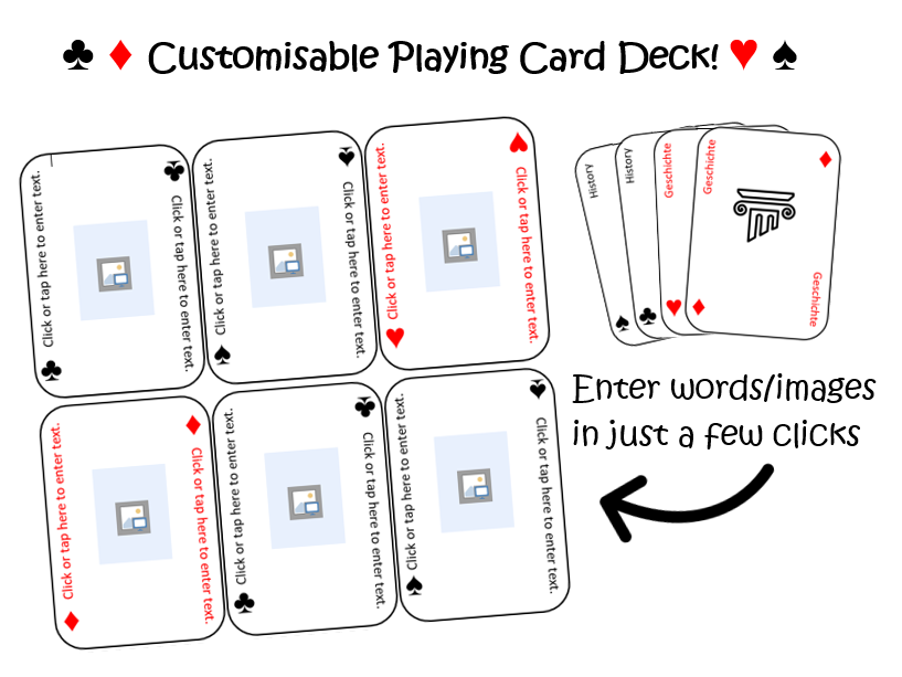 Customisable card deck template - Languages, ESL, Maths and more! Make your own playing cards.