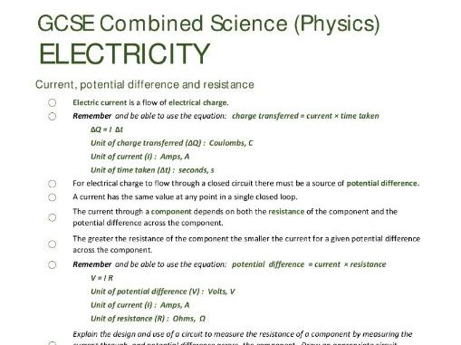 ELECTRICITY unit summary/checklist for AQA GCSE Combined Science: Trilogy (Physics)