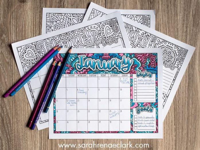 2017 Colouring Calendar
