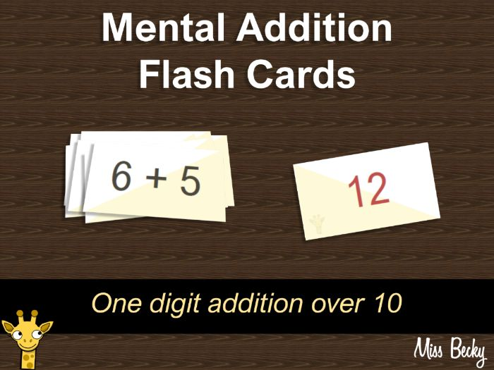 Mental addition flip cards