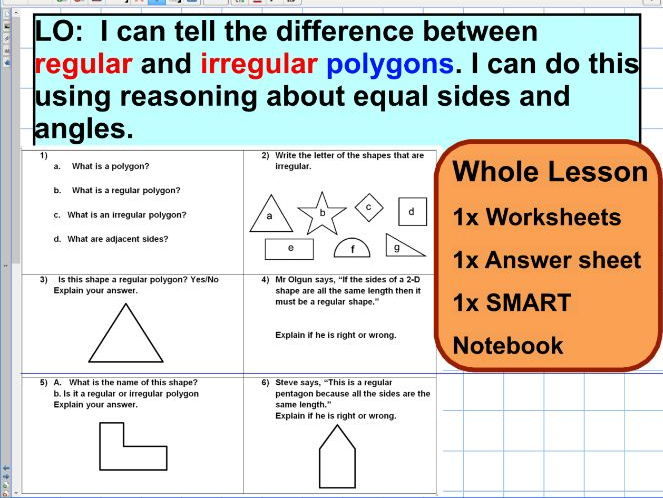 Regular and irregular polygons - reasoning- ks2 year 5 & 6 - SATS style - WHOLE LESSON