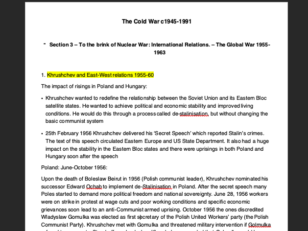 Cold War Summary notes 1945-1991 - AQA A Level History section 3