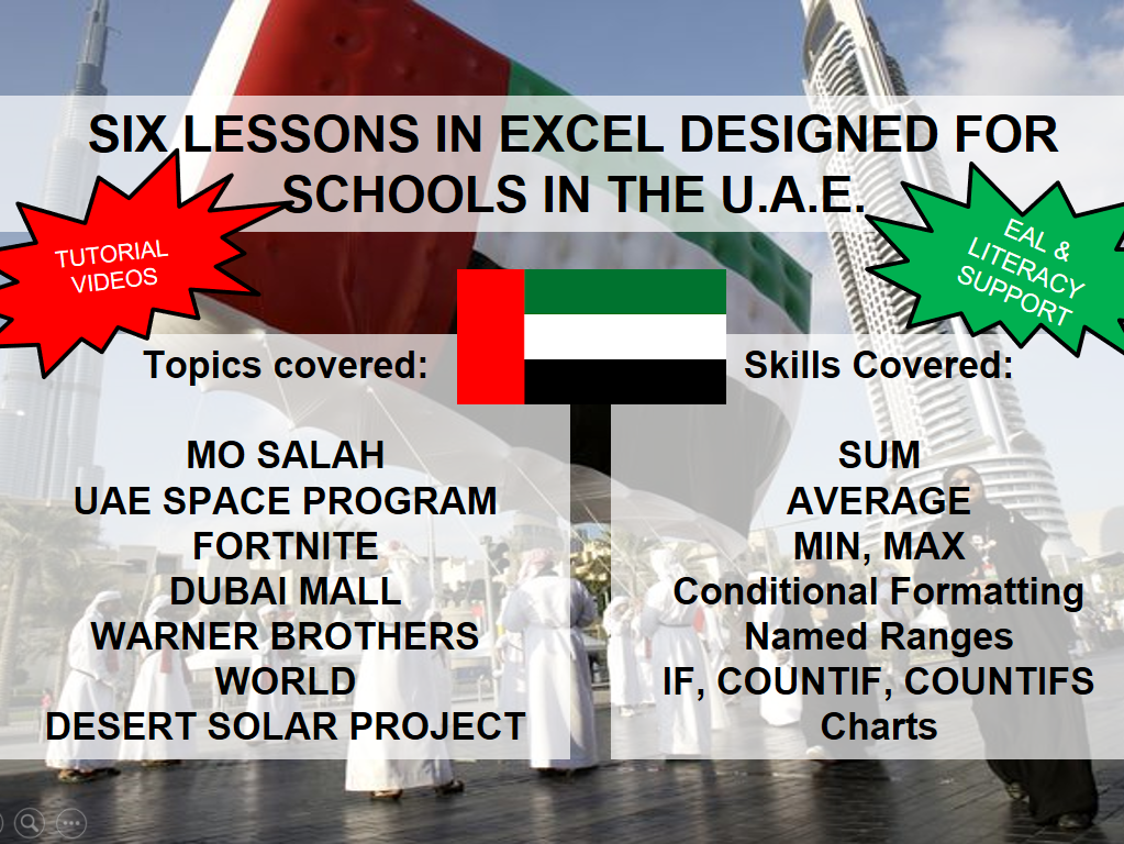 EXCEL IN THE UAE - BASIC TO ADVANCED -  6 LESSONS