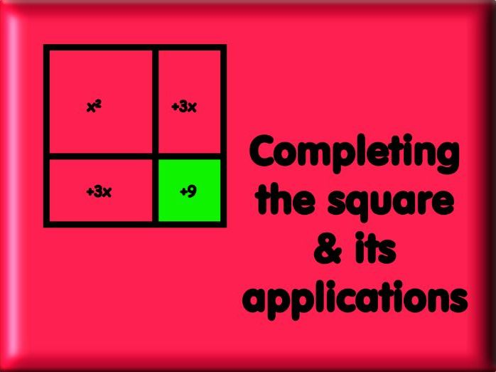 Completing The Square & It's Applications - With Answers