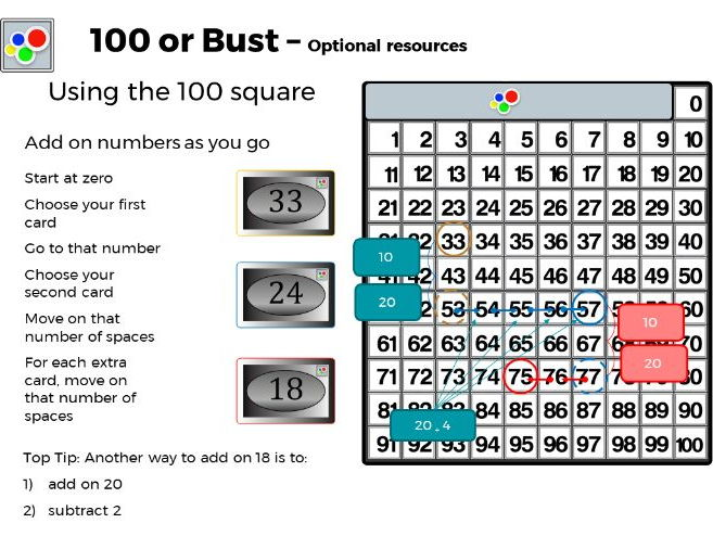 Using a 100 square - support for 100 or Bust game