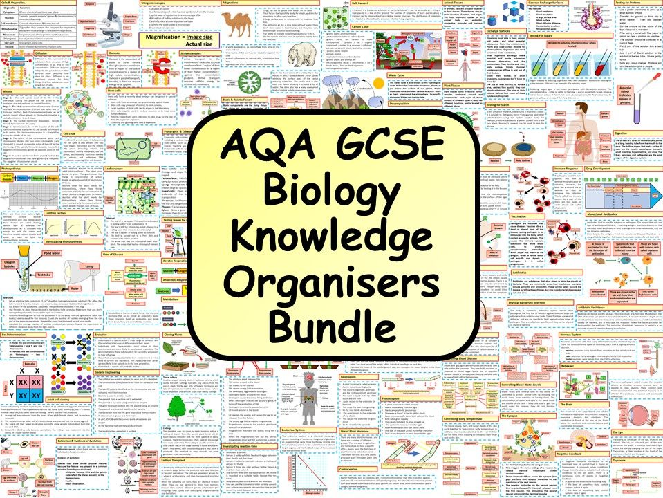 KS4 AQA GCSE Biology (Science) Revision Knowledge Organiser Bundle