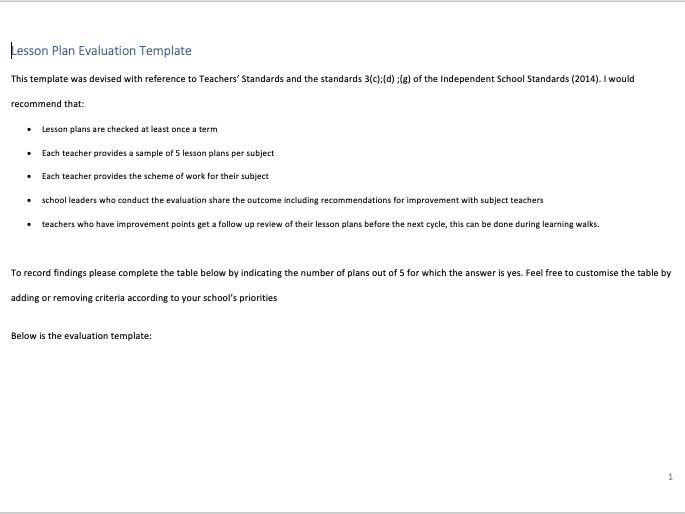 Lesson Plan Evaluation Template