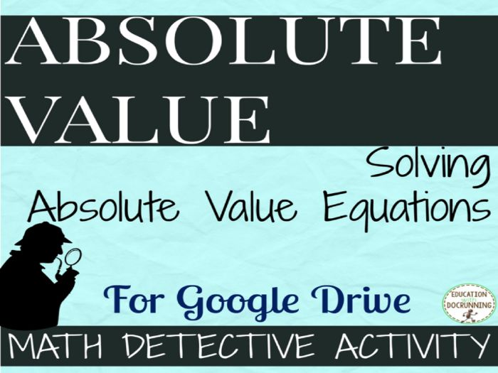 Solve Absolute Value Equations Math Detective Activity for Google ...