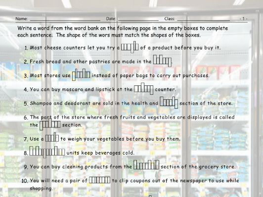 Grocery Shopping Sentence Shapes Worksheet