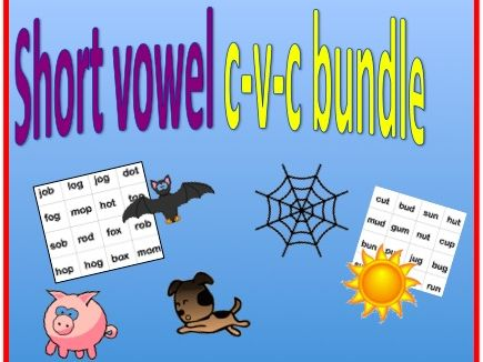 CVC Short Vowel bundle.  Worksheets and bing games for short vowel practice