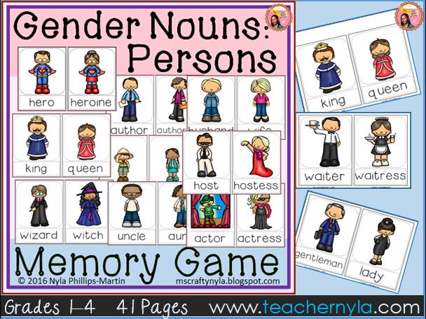 Gender Noun Persons - Memory Game