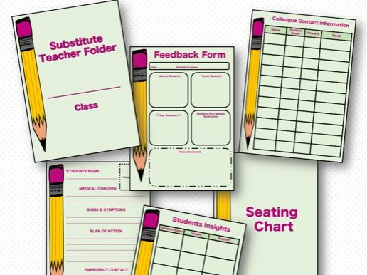 Substitute Teacher Folder Dividers with sample forms