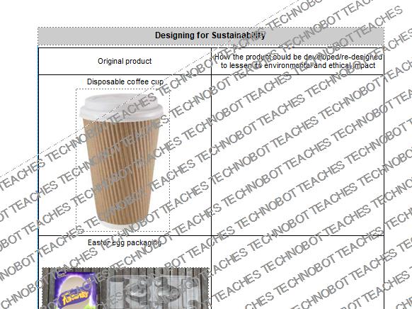 Designing for sustainability worksheet