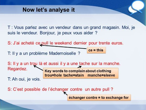 French GCSE Higher shop role play