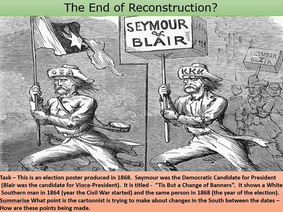 the process of reconstruction after the american civil war Facts, information and articles about civil war reconstruction, the period after the civil war civil war reconstruction facts location united states southern states participants president abraham lincoln president andrew johnson president ulysses s grant president rutherford b hayes time period 1865-1877 results thirteenth amendment fourteenth amendment fifteenth amendment civil-war.