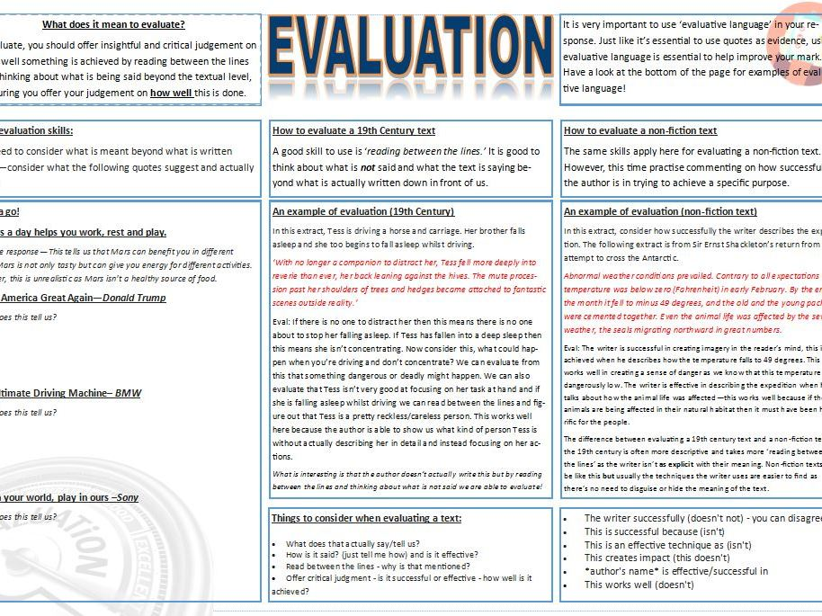 Evaluation worksheet GCSE English