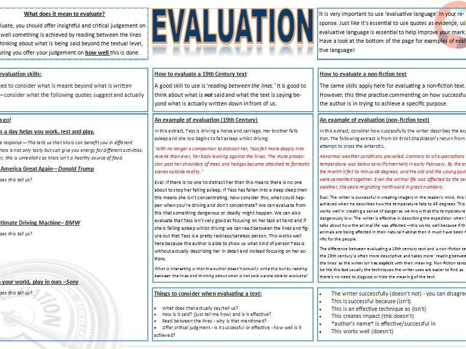 Evaluation worksheet GCSE English