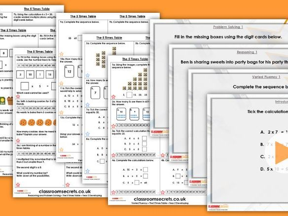 Year 2 The 5 Times Table Autumn Block 4 Step 8 Maths Lesson Pack