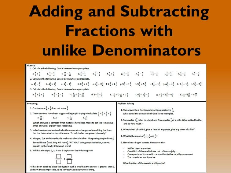 Adding and Subtracting Fractions Problem Solving Mastery Worksheet
