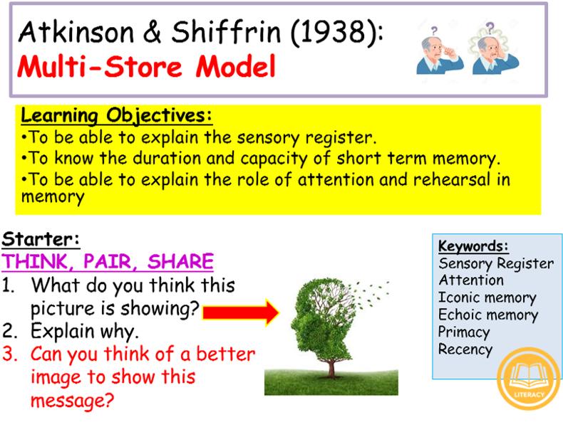 GCSE Edexcel Psychology (9-1): Topic 2: Memory, Lesson 6: Atkinson & Shiffrin: Multi-Store Model