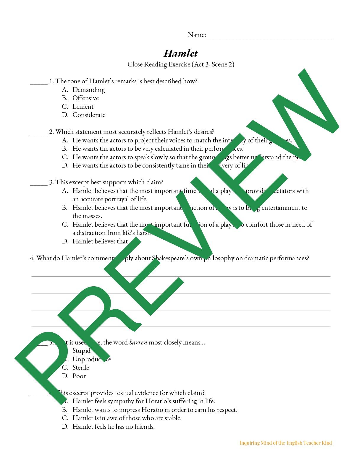 Hamlet Close Reading Worksheet Act 3 2 Teaching Resources [ 1584 x 1224 Pixel ]