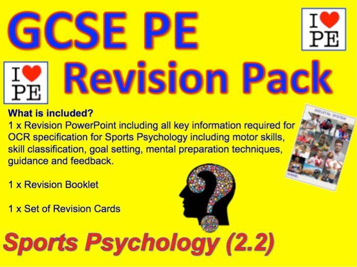 GCSE PE Skill Classification, SMART Goal Setting, Mental Preparation,Feedback (2.2) Revision Pack