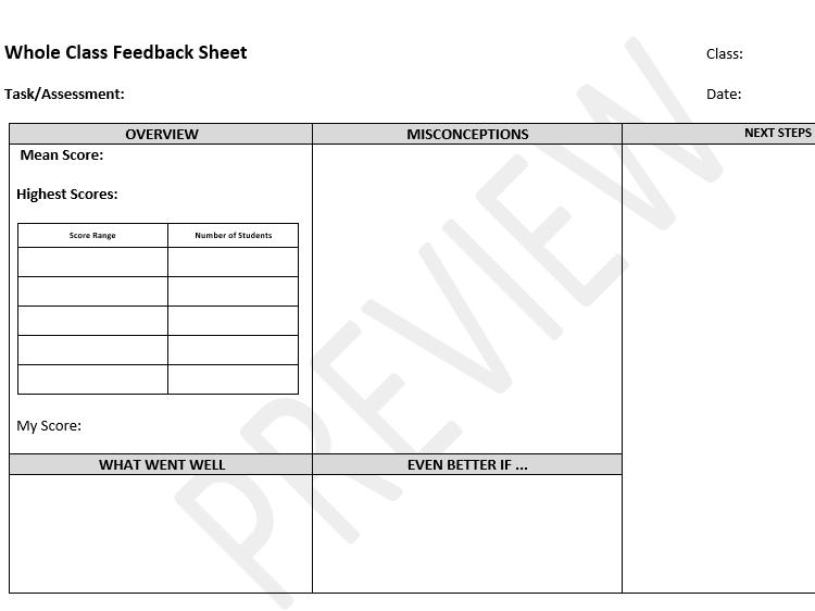 Whole Class Feedback Sheet for Maths