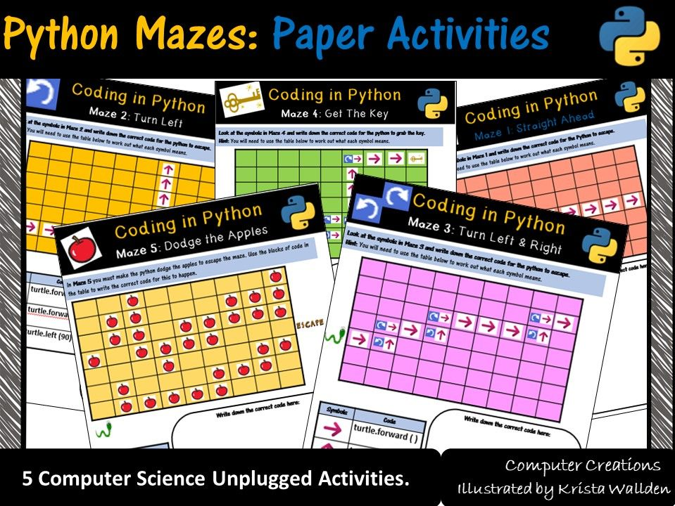 Python Programming Coding Mazes: Coding Unplugged Beginner Activities