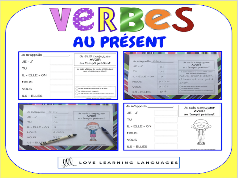 Verbes au présent - 60 verbes français à conjuguer - PRIMAIRE