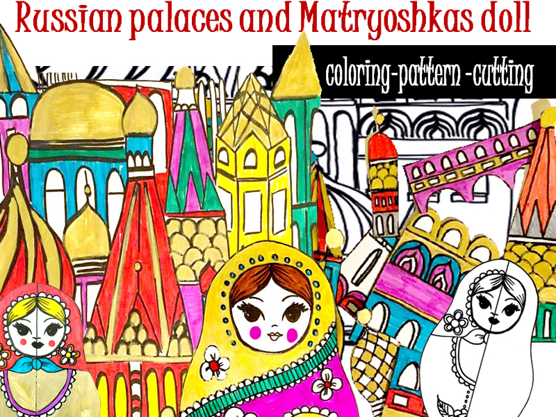 Coloring pages and activity Russian Patterns
