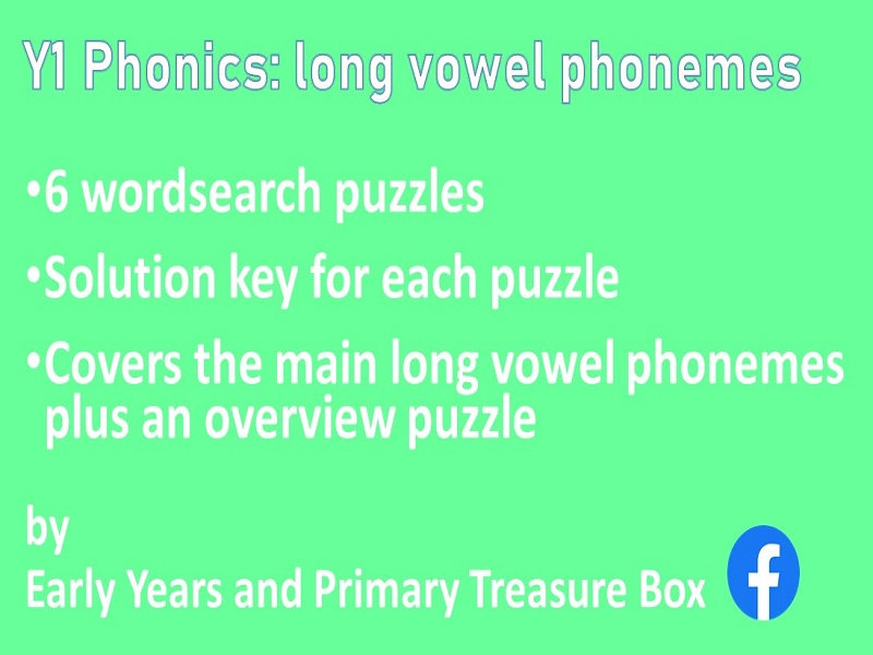 Year 1 phonics puzzles long vowel phoneme wordsearch bundle set 5 – 6 years