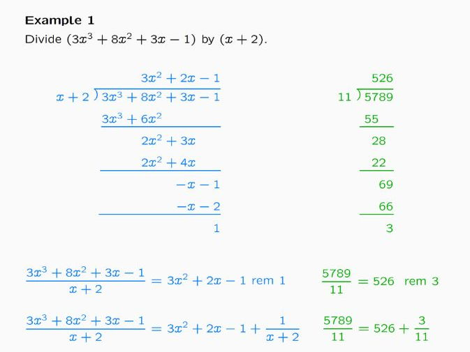 Lesson on Algebraic Division