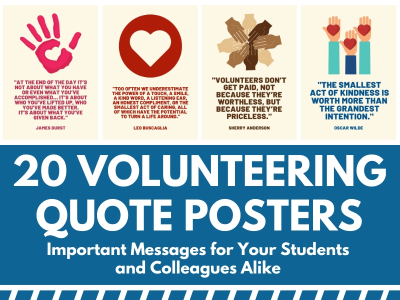 20 Volunteering Quote Posters for School Wall Displays