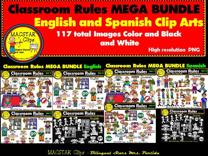 Classroom Rules Clipart Bundle English and Spanish Clips Bilingual Stars Mrs. Partida