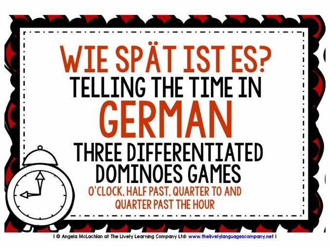 GERMAN TELLING THE TIME (1) - 3 DIFFERENTIATED DOMINOES GAMES