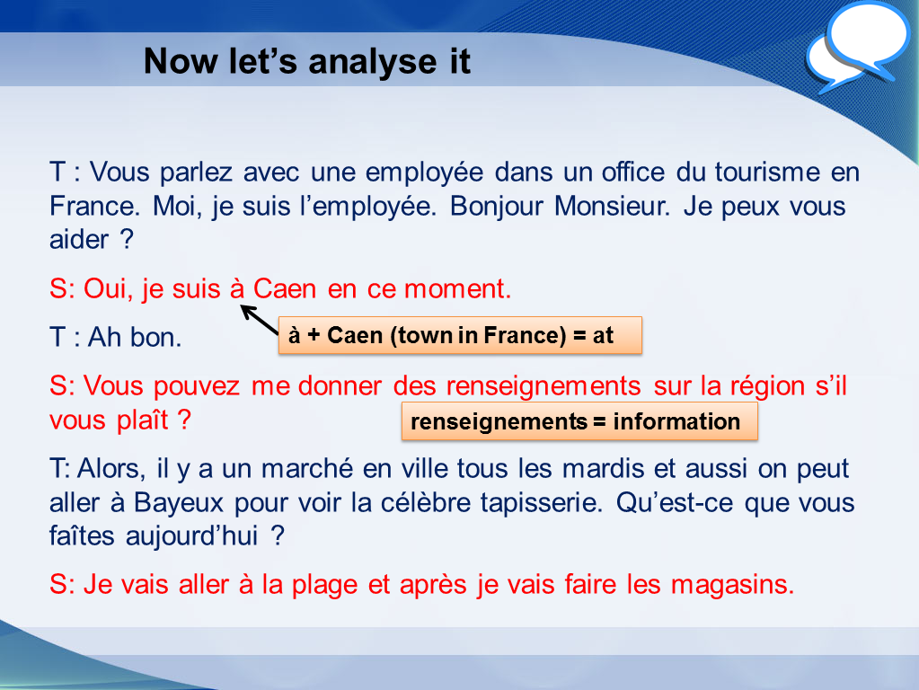 GCSE French higher role play practice