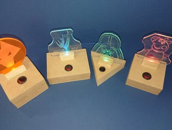 Student help sheets and guides to produce low voltage nightlight/logo light. Circuit,housing & lens