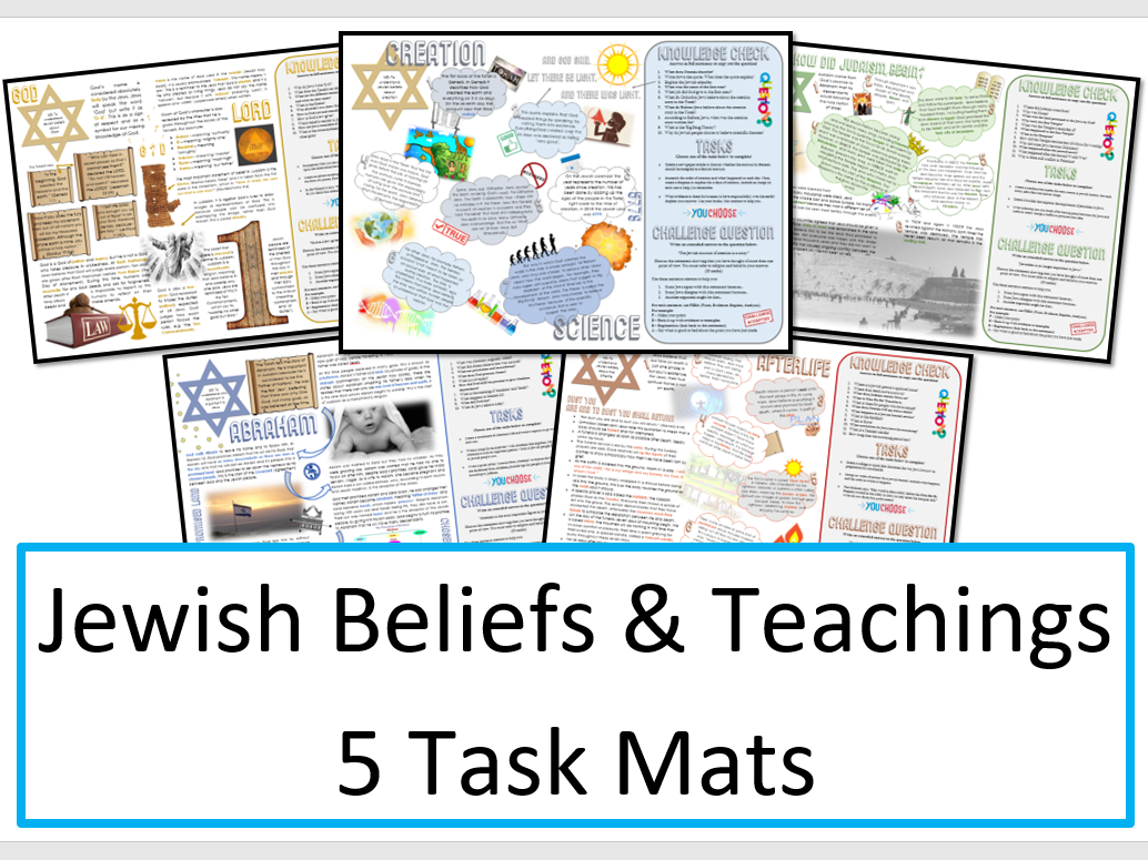 Jewish Beliefs and Teachings Task Mat Bundle