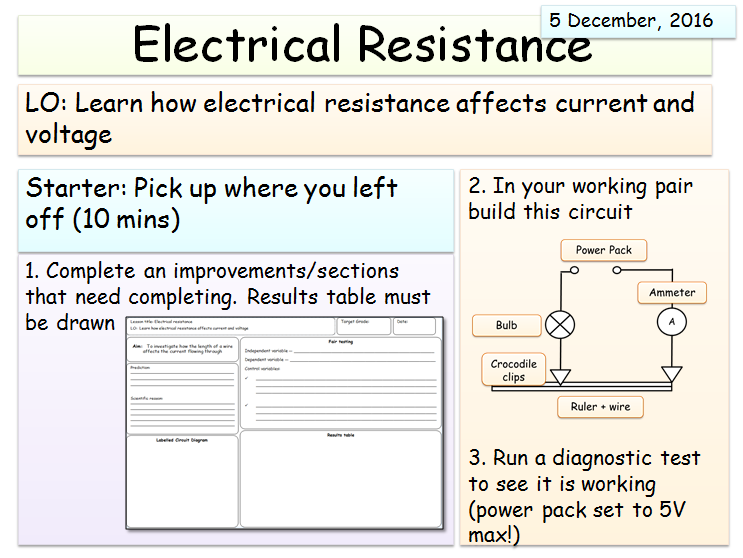 KS3 (Electricity Unit) - Resistance Lesson 2