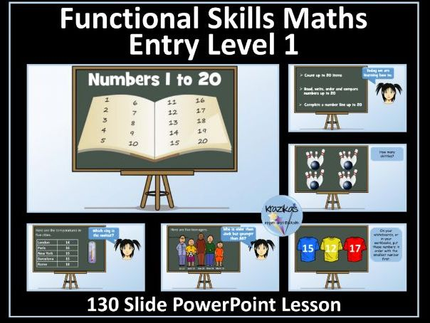 Functional Skills - Entry Level 1- Numbers to 20 - PowerPoint Lesson