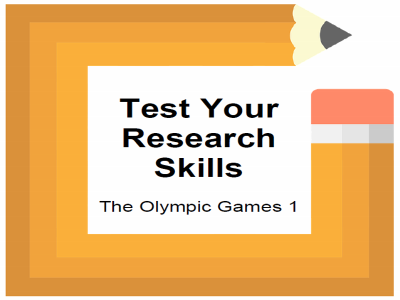 Test Your Research Skills The Olympic Games 1