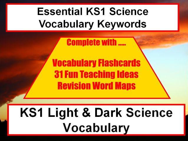 KS1 Light and Dark Vocabulary Presentation and Spelling List+ Word Mat + 31 Teaching Activities