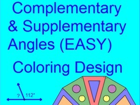 ANGLES - COMPLEMENTARY AND SUPPLEMENTARY COLORING ACTIVITY
