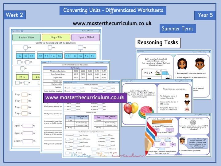 Year 5 - Measurement - Converting Units - Week 2 - White Rose Style - Differentiated Worksheets
