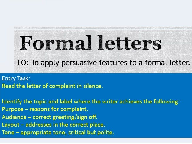 Transactional Writing - Formal letters scheme (metacognition approach)