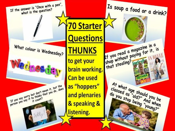 70 STARTER QUESTIONS/THUNKS to warm your brain up. SPEAKING & LISTENING ACTIVITY