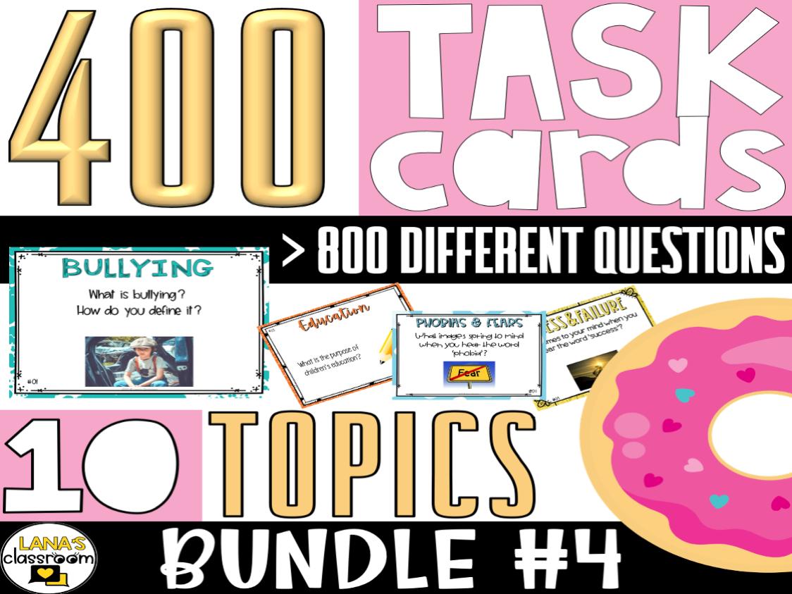 Conversation Starter Task Cards   BUNDLE#4   For Middle & High School
