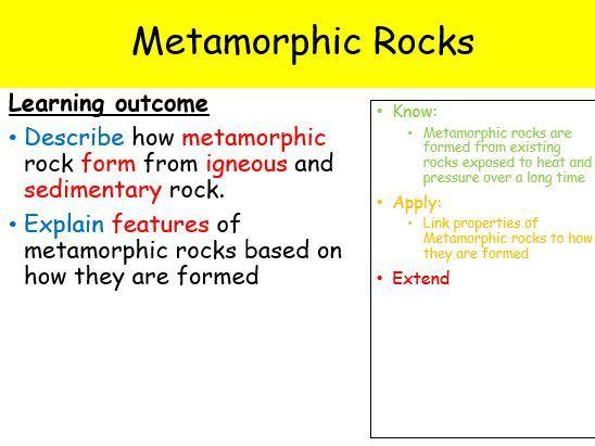Year 7 - Metamorphic Rock (Full Lesson - 1 hour)