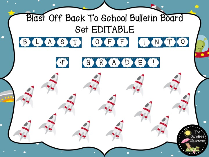 Bulletin Board Set EDITABLE: Blast Off Back To School Set